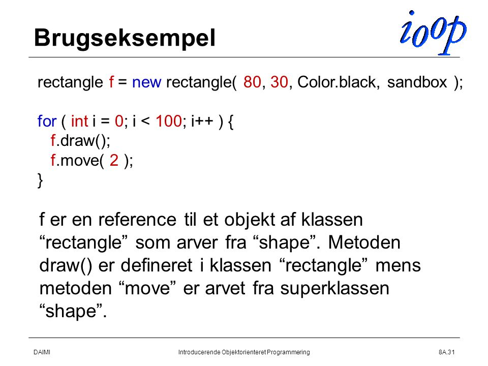 DAIMIIntroducerende Objektorienteret Programmering8A.31 Brugseksempel rectangle f = new rectangle( 80, 30, Color.black, sandbox ); for ( int i = 0; i < 100; i++ ) { f.draw(); f.move( 2 ); } f er en reference til et objekt af klassen rectangle som arver fra shape .