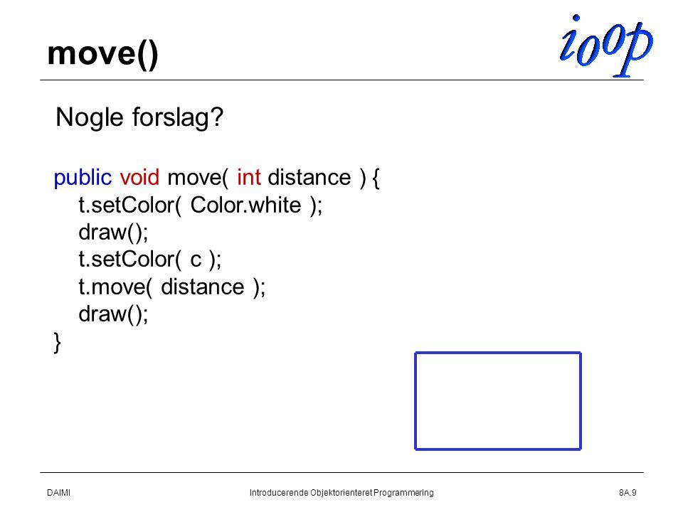 DAIMIIntroducerende Objektorienteret Programmering8A.9 move()  Nogle forslag.