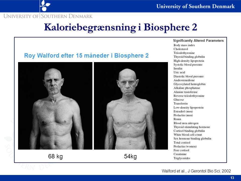 13 Kaloriebegrænsning i Biosphere 2 Roy Walford efter 15 måneder i Biosphere 2 68 kg54kg Significantly Altered Parameters Walford et al., J Gerontol Bio Sci, 2002