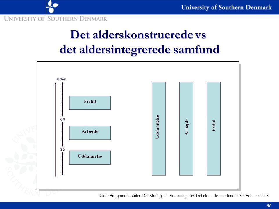 47 Det alderskonstruerede vs det aldersintegrerede samfund Kilde: Baggrundsnotater.