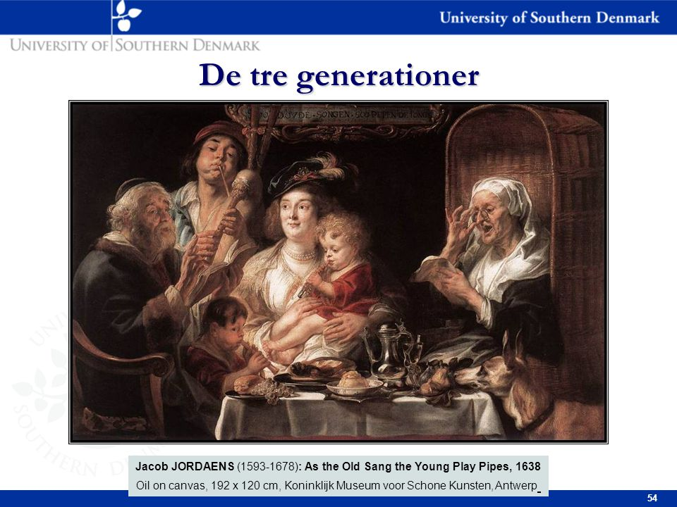 54 De tre generationer Jacob JORDAENS (1593-1678): As the Old Sang the Young Play Pipes, 1638 Oil on canvas, 192 x 120 cm, Koninklijk Museum voor Schone Kunsten, Antwerp