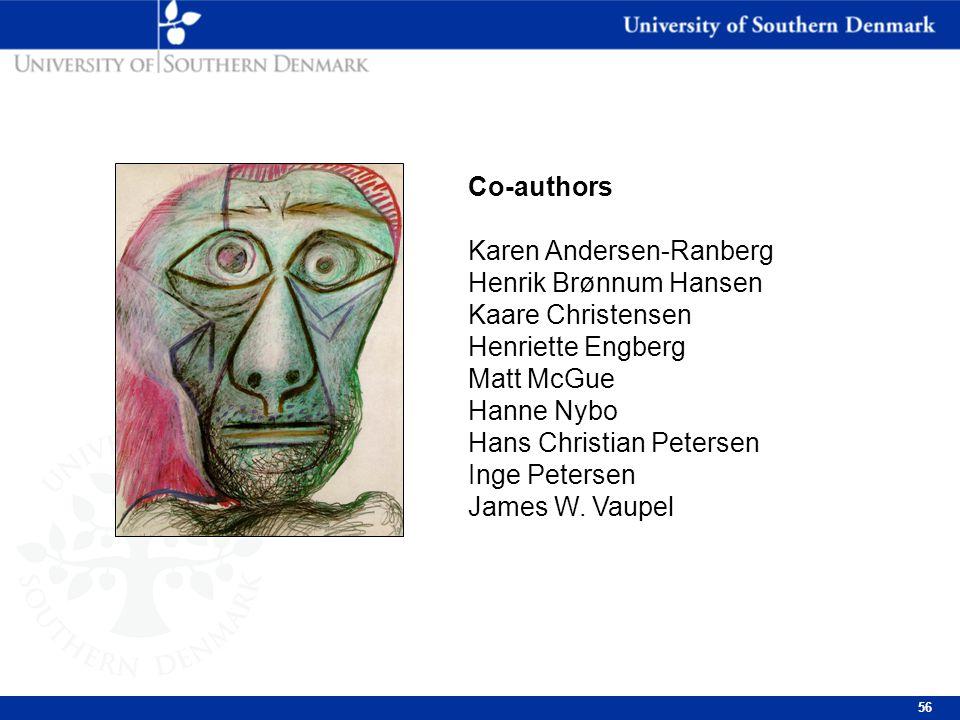 56 Co-authors Karen Andersen-Ranberg Henrik Brønnum Hansen Kaare Christensen Henriette Engberg Matt McGue Hanne Nybo Hans Christian Petersen Inge Petersen James W.