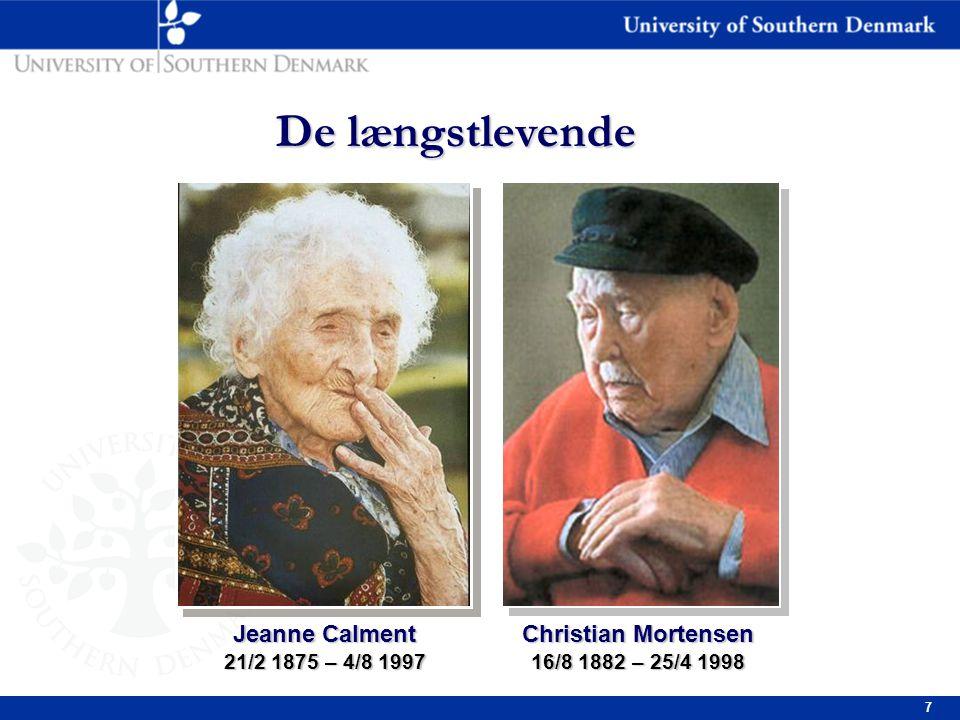 7 Christian Mortensen 16/8 1882 – 25/4 1998 De længstlevende Jeanne Calment 21/2 1875 – 4/8 1997