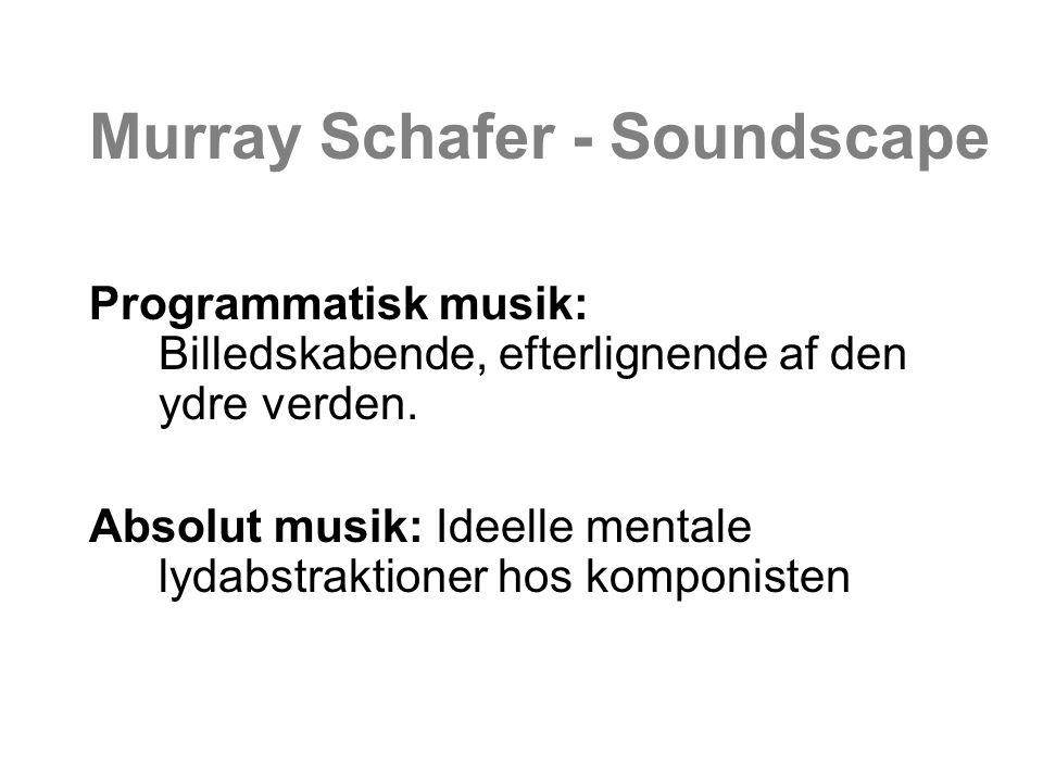 Murray Schafer - Soundscape Programmatisk musik: Billedskabende, efterlignende af den ydre verden.