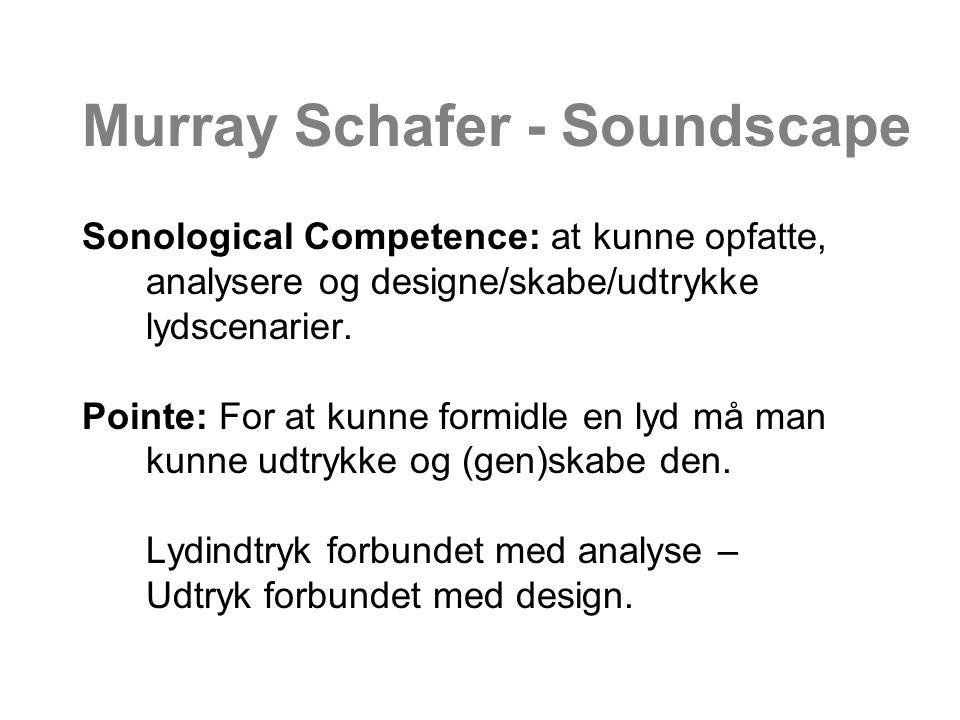 Murray Schafer - Soundscape Sonological Competence: at kunne opfatte, analysere og designe/skabe/udtrykke lydscenarier.