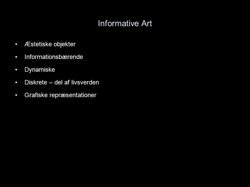 Informative Art Æstetiske objekter Informationsbærende Dynamiske Diskrete – del af livsverden Grafiske repræsentationer
