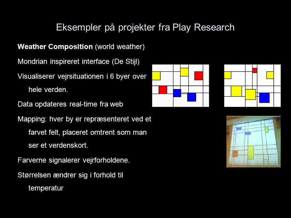 Eksempler på projekter fra Play Research Weather Composition (world weather) Mondrian inspireret interface (De Stijl) Visualiserer vejrsituationen i 6 byer over hele verden.