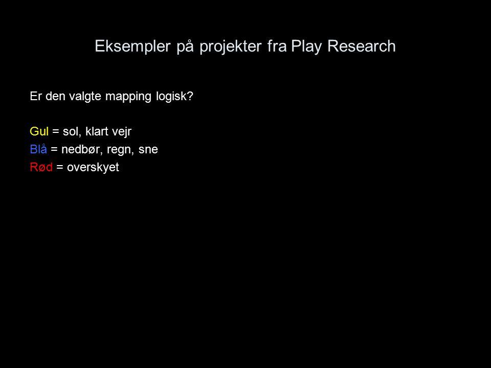 Eksempler på projekter fra Play Research Er den valgte mapping logisk.
