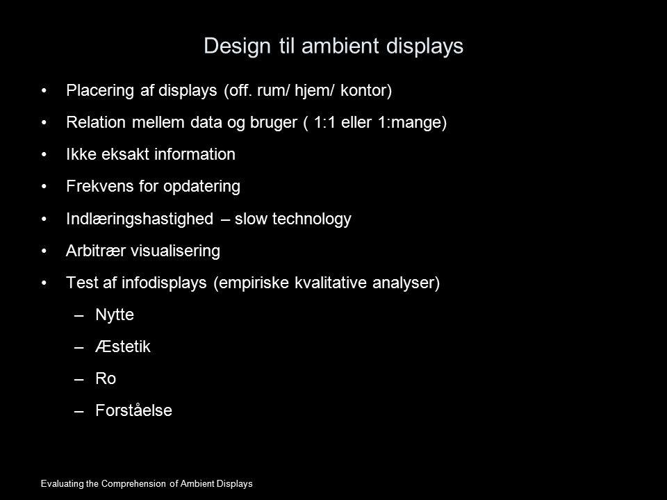 Design til ambient displays Placering af displays (off.