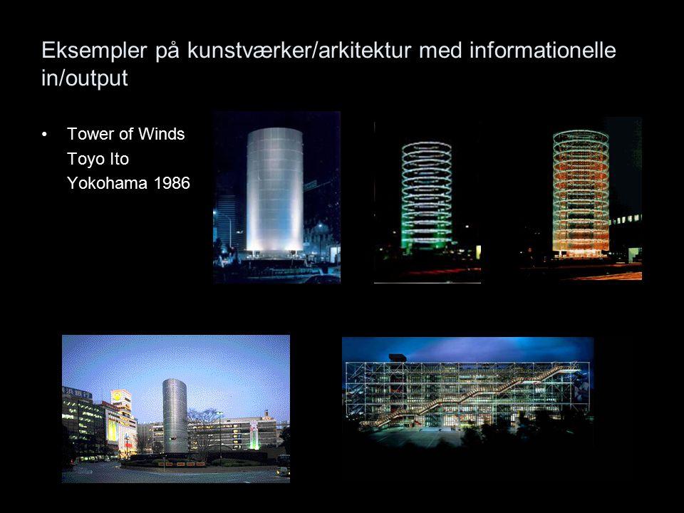 Eksempler på kunstværker/arkitektur med informationelle in/output Tower of Winds Toyo Ito Yokohama 1986
