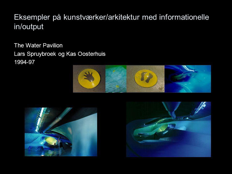 Eksempler på kunstværker/arkitektur med informationelle in/output The Water Pavilion Lars Spruybroek og Kas Oosterhuis 1994-97
