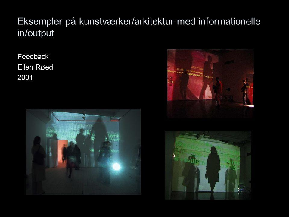 Eksempler på kunstværker/arkitektur med informationelle in/output Feedback Ellen Røed 2001