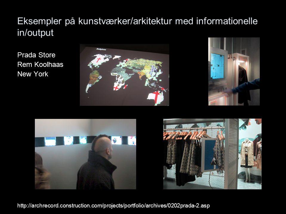 Eksempler på kunstværker/arkitektur med informationelle in/output Prada Store Rem Koolhaas New York http://archrecord.construction.com/projects/portfolio/archives/0202prada-2.asp