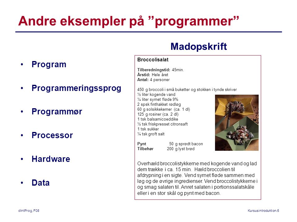 dIntProg, F08Kursusintroduktion.5 Andre eksempler på programmer Broccolisalat Tilberedningstid: 45min.