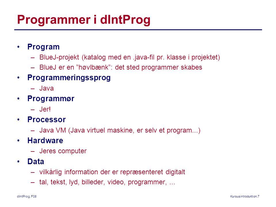 dIntProg, F08Kursusintroduktion.7 Programmer i dIntProg Program –BlueJ-projekt (katalog med en.java-fil pr.