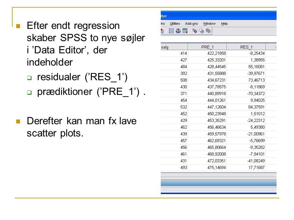 Efter endt regression skaber SPSS to nye søjler i 'Data Editor', der indeholder  residualer ('RES_1')  prædiktioner ('PRE_1').