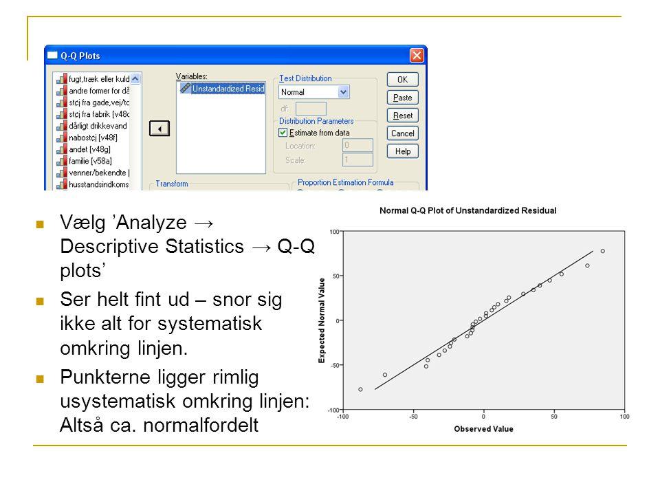 Vælg 'Analyze → Descriptive Statistics → Q-Q plots' Ser helt fint ud – snor sig ikke alt for systematisk omkring linjen.