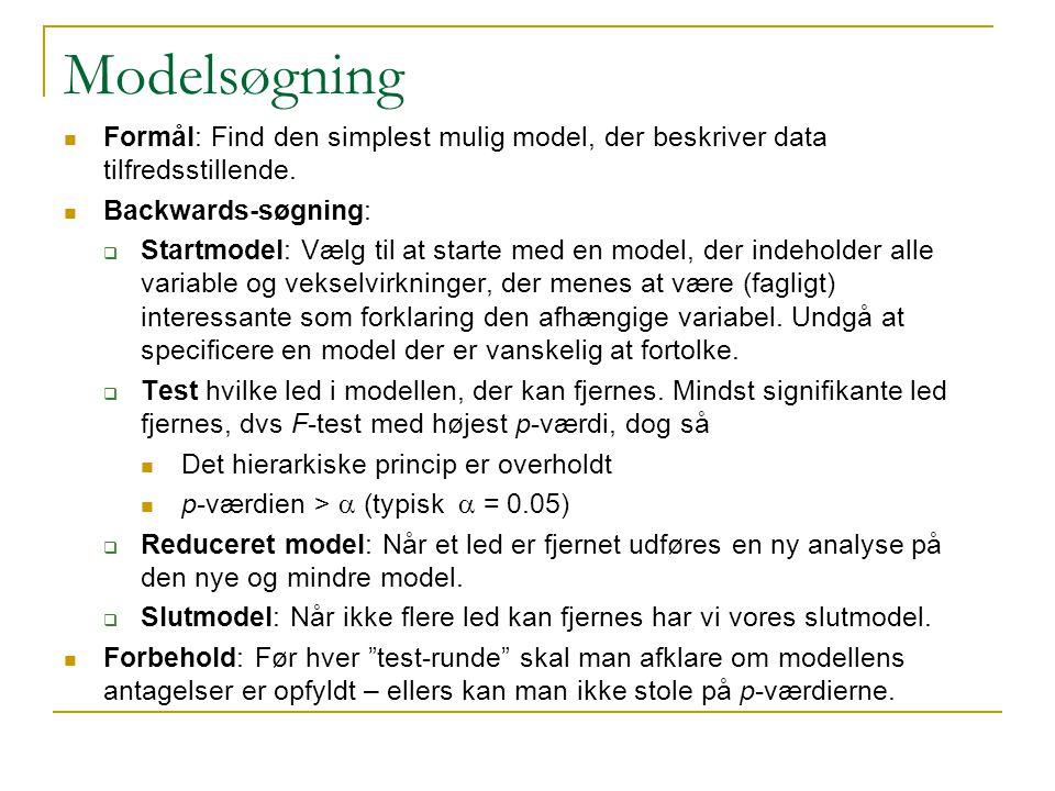 Modelsøgning Formål: Find den simplest mulig model, der beskriver data tilfredsstillende.