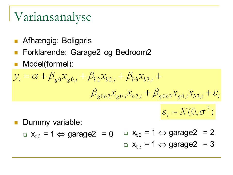Variansanalyse Afhængig: Boligpris Forklarende: Garage2 og Bedroom2 Model(formel): Dummy variable:  x g0 = 1  garage2 = 0  x b2 = 1  garage2 = 2  x b3 = 1  garage2 = 3