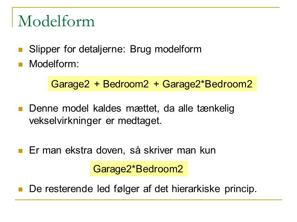 Modelform Slipper for detaljerne: Brug modelform Modelform: Denne model kaldes mættet, da alle tænkelig vekselvirkninger er medtaget.