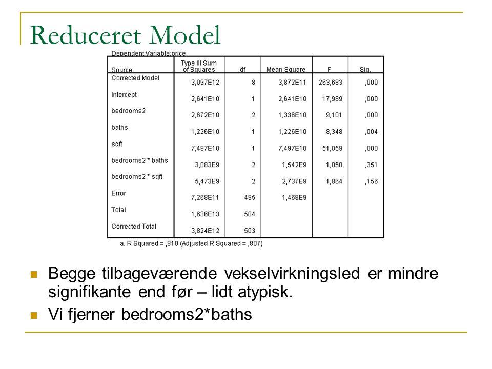 Reduceret Model Begge tilbageværende vekselvirkningsled er mindre signifikante end før – lidt atypisk.