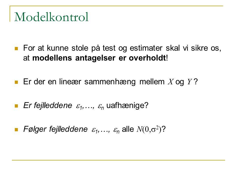 Modelkontrol For at kunne stole på test og estimater skal vi sikre os, at modellens antagelser er overholdt.