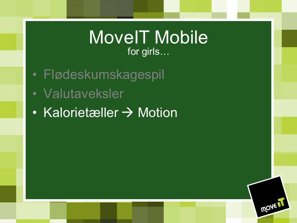 MoveIT Mobile for girls… Flødeskumskagespil Valutaveksler Kalorietæller  Motion