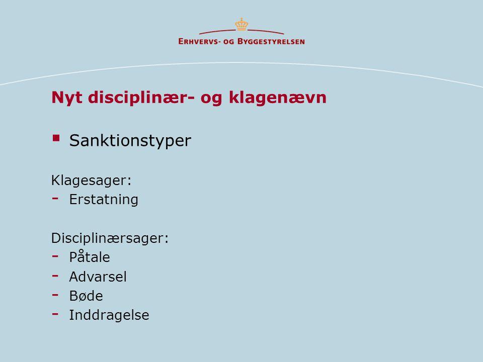 Nyt disciplinær- og klagenævn  Sanktionstyper Klagesager: - Erstatning Disciplinærsager: - Påtale - Advarsel - Bøde - Inddragelse