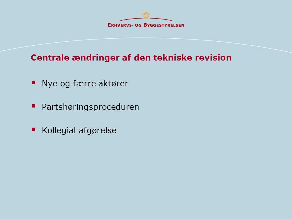 Centrale ændringer af den tekniske revision  Nye og færre aktører  Partshøringsproceduren  Kollegial afgørelse