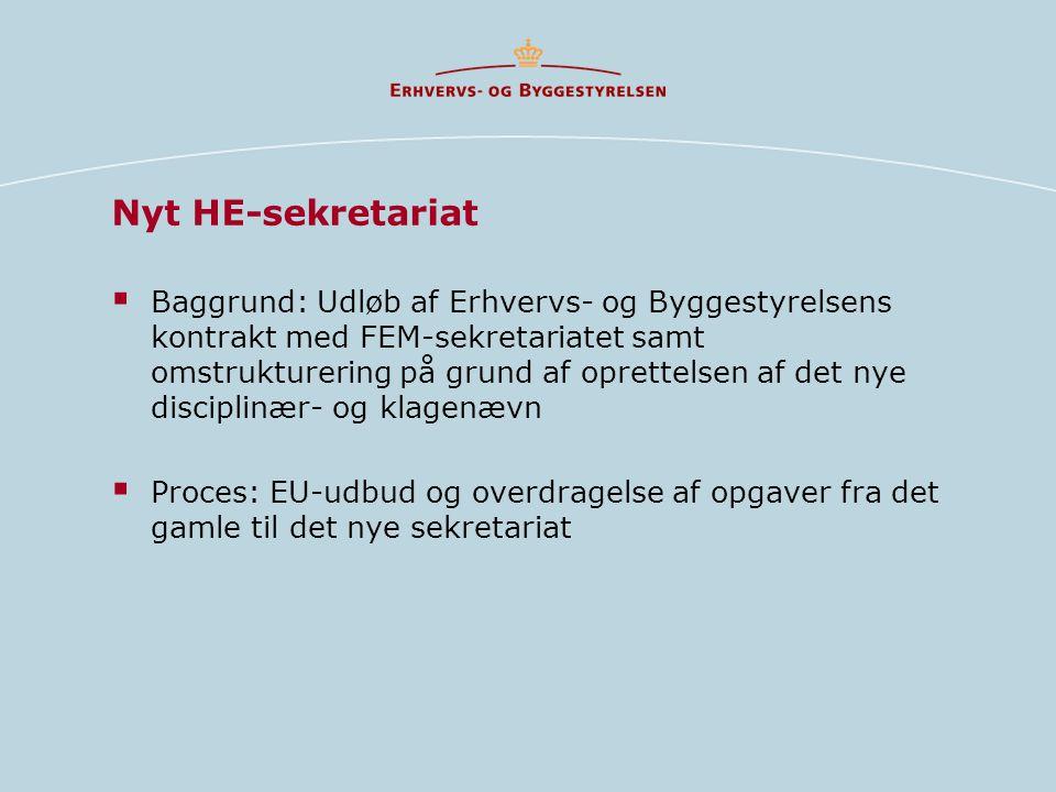  Baggrund: Udløb af Erhvervs- og Byggestyrelsens kontrakt med FEM-sekretariatet samt omstrukturering på grund af oprettelsen af det nye disciplinær- og klagenævn  Proces: EU-udbud og overdragelse af opgaver fra det gamle til det nye sekretariat