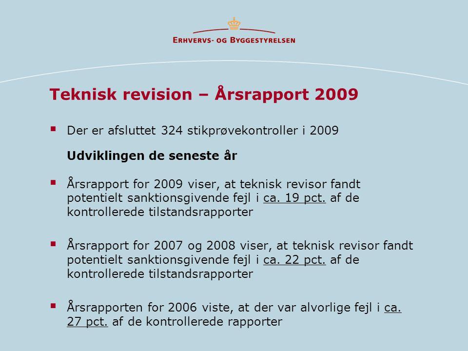Teknisk revision – Årsrapport 2009  Der er afsluttet 324 stikprøvekontroller i 2009 Udviklingen de seneste år  Årsrapport for 2009 viser, at teknisk revisor fandt potentielt sanktionsgivende fejl i ca.