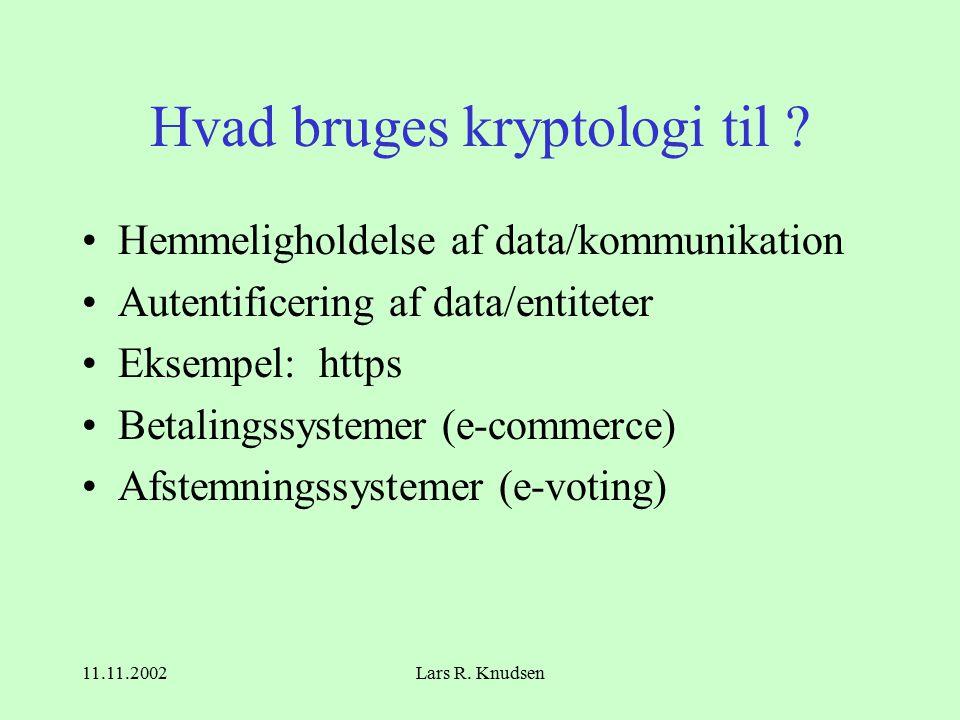 11.11.2002Lars R. Knudsen Hvad bruges kryptologi til .