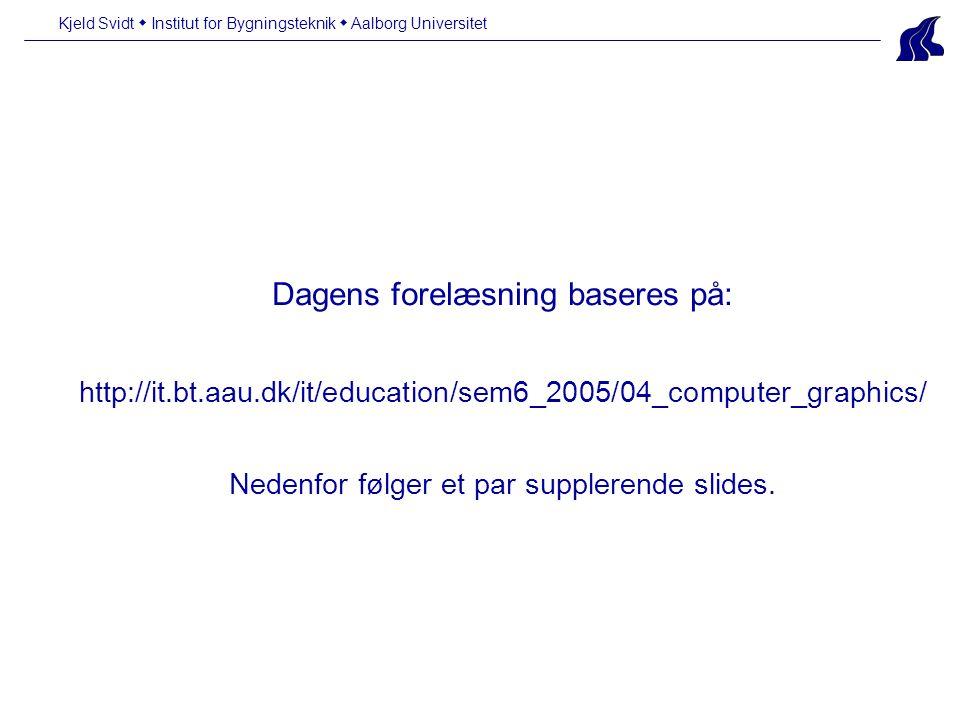 Dagens forelæsning baseres på: http://it.bt.aau.dk/it/education/sem6_2005/04_computer_graphics/ Nedenfor følger et par supplerende slides.