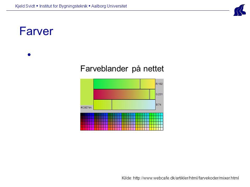 Farver Kjeld Svidt  Institut for Bygningsteknik  Aalborg Universitet Kilde: http://www.webcafe.dk/artikler/html/farvekoder/mixer.html Farveblander på nettet