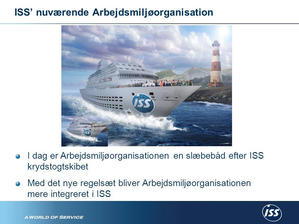 ISS' nuværende Arbejdsmiljøorganisation I dag er Arbejdsmiljøorganisationen en slæbebåd efter ISS krydstogtskibet Med det nye regelsæt bliver Arbejdsmiljøorganisationen mere integreret i ISS