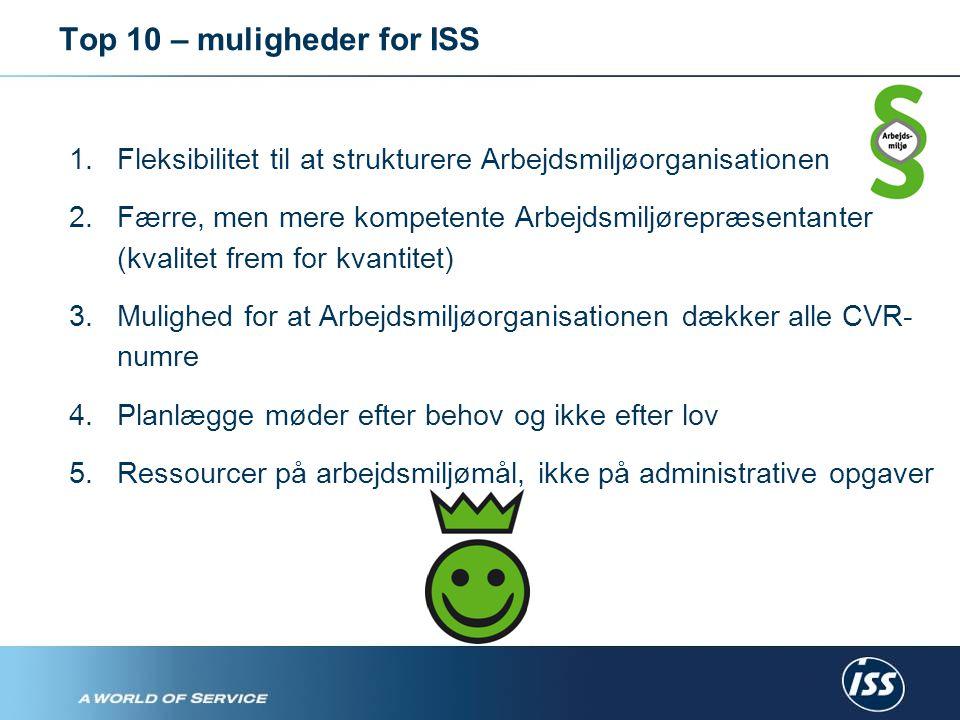 Top 10 – muligheder for ISS 1.Fleksibilitet til at strukturere Arbejdsmiljøorganisationen 2.Færre, men mere kompetente Arbejdsmiljørepræsentanter (kvalitet frem for kvantitet) 3.