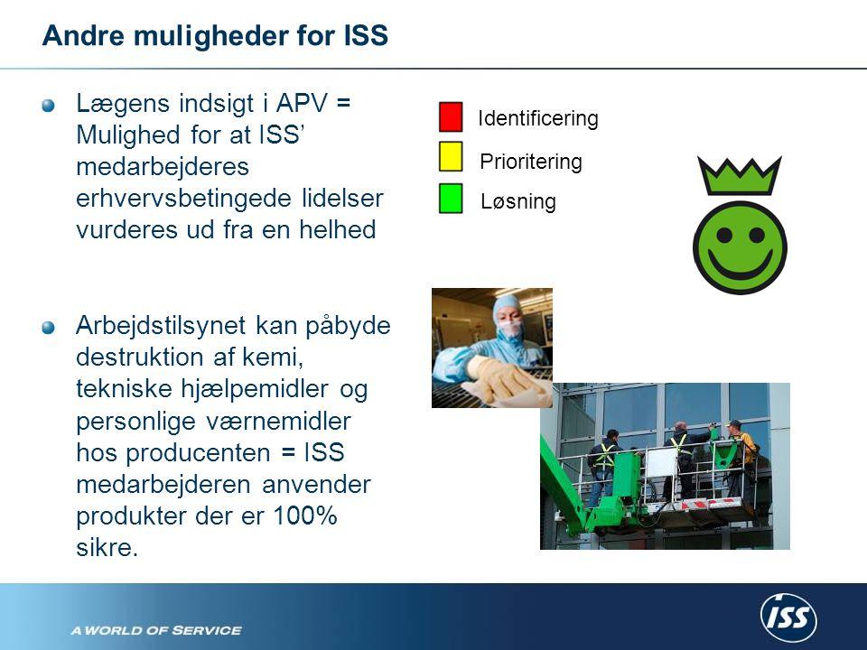 Andre muligheder for ISS Lægens indsigt i APV = Mulighed for at ISS' medarbejderes erhvervsbetingede lidelser vurderes ud fra en helhed Arbejdstilsynet kan påbyde destruktion af kemi, tekniske hjælpemidler og personlige værnemidler hos producenten = ISS medarbejderen anvender produkter der er 100% sikre.