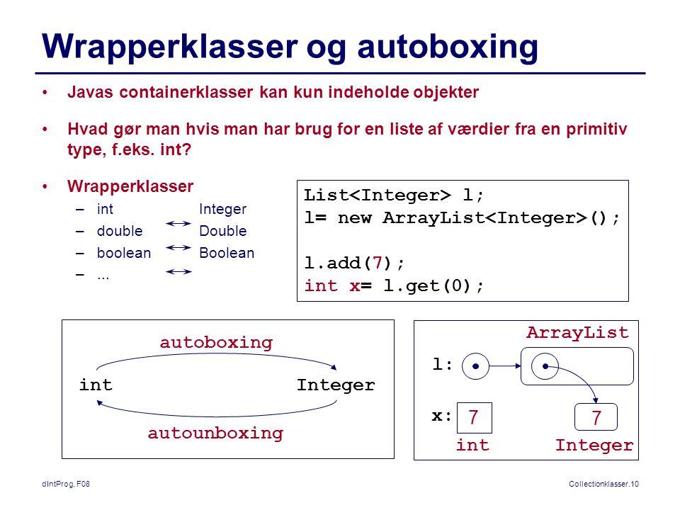 dIntProg, F08Collectionklasser.10 Wrapperklasser og autoboxing Javas containerklasser kan kun indeholde objekter Hvad gør man hvis man har brug for en liste af værdier fra en primitiv type, f.eks.