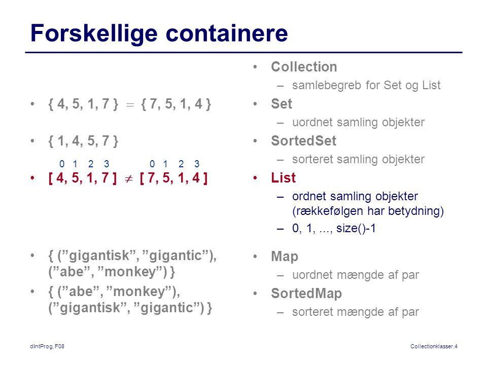 dIntProg, F08Collectionklasser.4 Forskellige containere Collection –samlebegreb for Set og List Set –uordnet samling objekter SortedSet –sorteret samling objekter List –ordnet samling objekter (rækkefølgen har betydning) –0, 1,..., size()-1 Map –uordnet mængde af par SortedMap –sorteret mængde af par { 4, 5, 1, 7 }  { 7, 5, 1, 4 } { 1, 4, 5, 7 } [ 4, 5, 1, 7 ]  [ 7, 5, 1, 4 ] { ( gigantisk , gigantic ), ( abe , monkey ) } { ( abe , monkey ), ( gigantisk , gigantic ) } 0 1 2 3