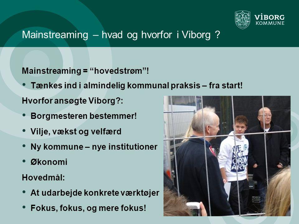 Mainstreaming – hvad og hvorfor i Viborg . Mainstreaming = hovedstrøm .