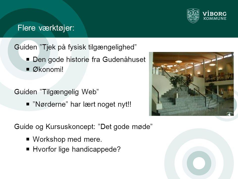 Flere værktøjer: Guiden Tjek på fysisk tilgængelighed  Den gode historie fra Gudenåhuset  Økonomi.