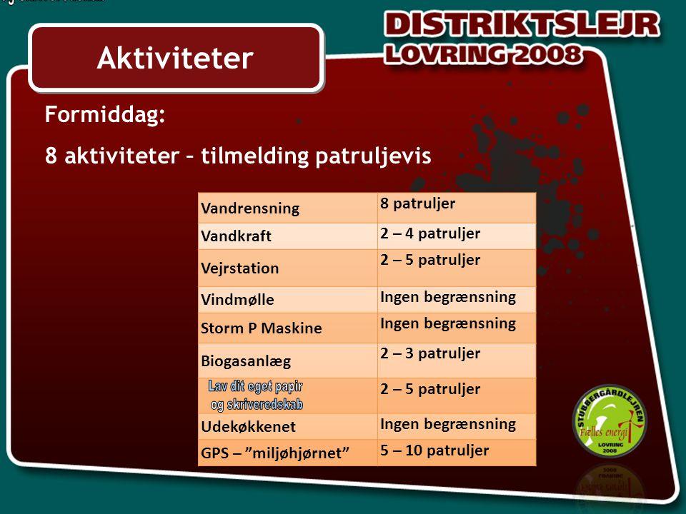 Aktiviteter Formiddag: 8 aktiviteter – tilmelding patruljevis