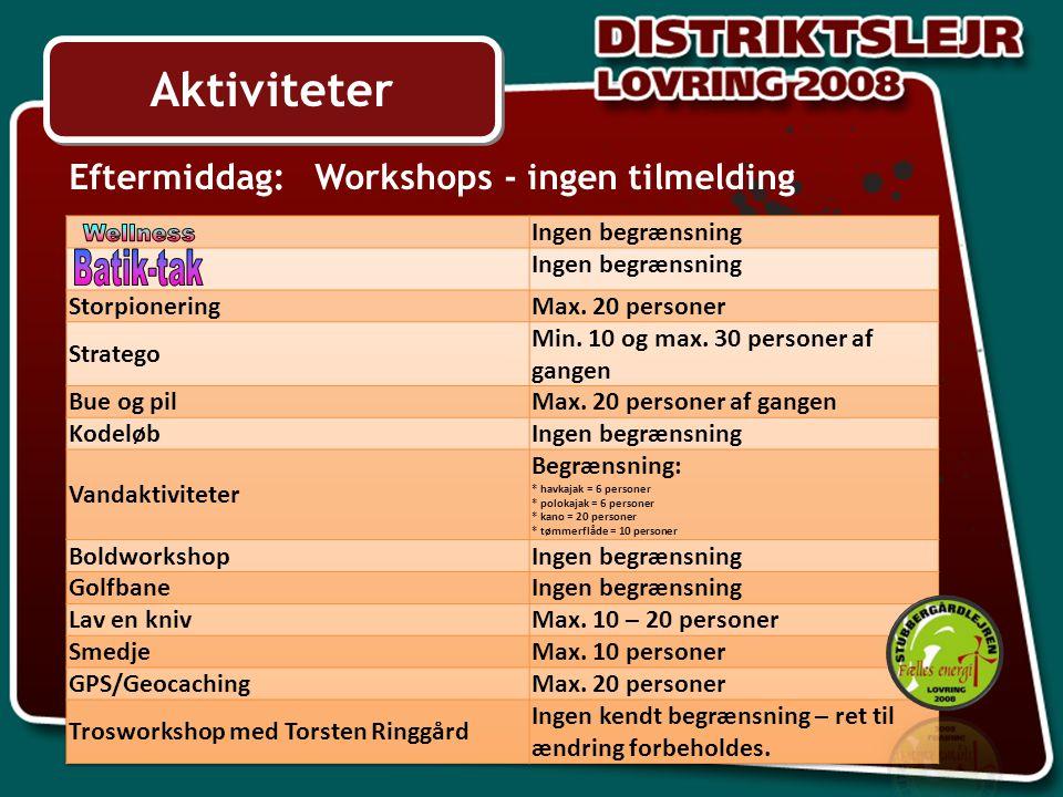 Aktiviteter Eftermiddag: Workshops - ingen tilmelding