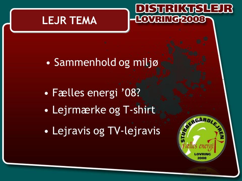 Sammenhold og miljø Fælles energi '08 Lejrmærke og T-shirt LEJR TEMA Lejravis og TV-lejravis