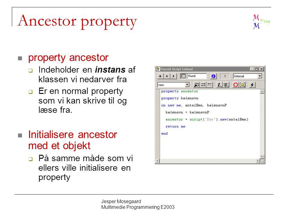 Jesper Mosegaard Multimedie Programmering E2003 Ancestor property property ancestor  Indeholder en instans af klassen vi nedarver fra  Er en normal property som vi kan skrive til og læse fra.