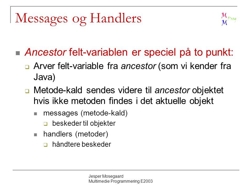 Jesper Mosegaard Multimedie Programmering E2003 Messages og Handlers Ancestor felt-variablen er speciel på to punkt:  Arver felt-variable fra ancestor (som vi kender fra Java)  Metode-kald sendes videre til ancestor objektet hvis ikke metoden findes i det aktuelle objekt messages (metode-kald)  beskeder til objekter handlers (metoder)  håndtere beskeder