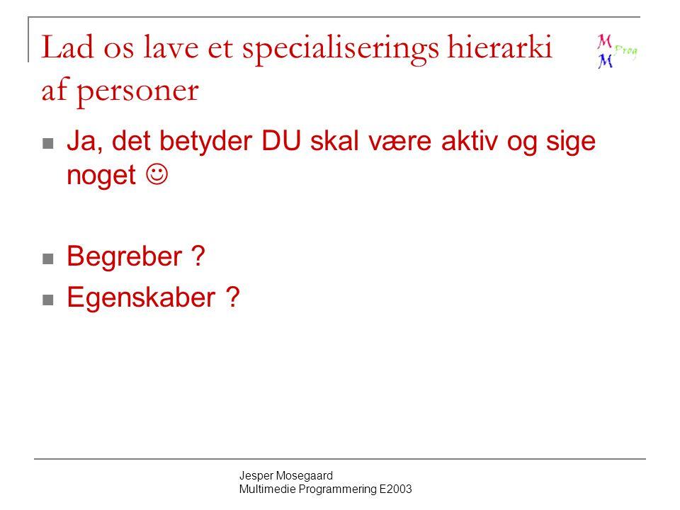 Jesper Mosegaard Multimedie Programmering E2003 Lad os lave et specialiserings hierarki af personer Ja, det betyder DU skal være aktiv og sige noget Begreber .