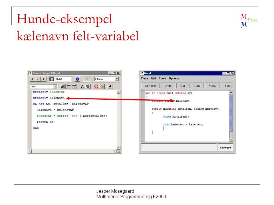 Jesper Mosegaard Multimedie Programmering E2003 Hunde-eksempel kælenavn felt-variabel