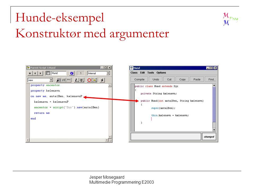 Jesper Mosegaard Multimedie Programmering E2003 Hunde-eksempel Konstruktør med argumenter
