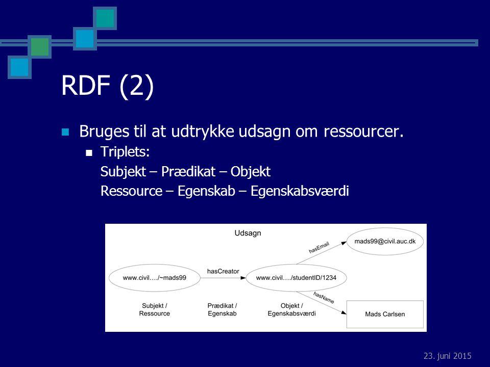23. juni 2015 RDF (2) Bruges til at udtrykke udsagn om ressourcer.